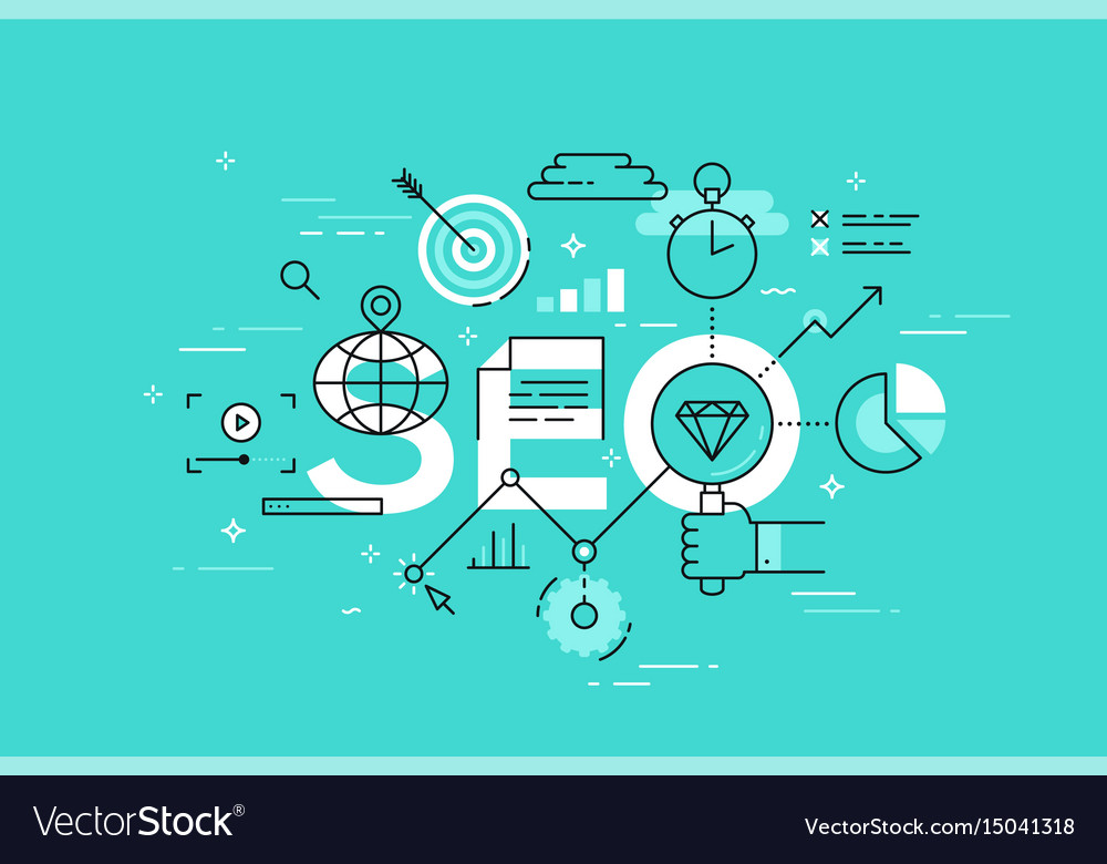 Thin line flat design banner of search engine