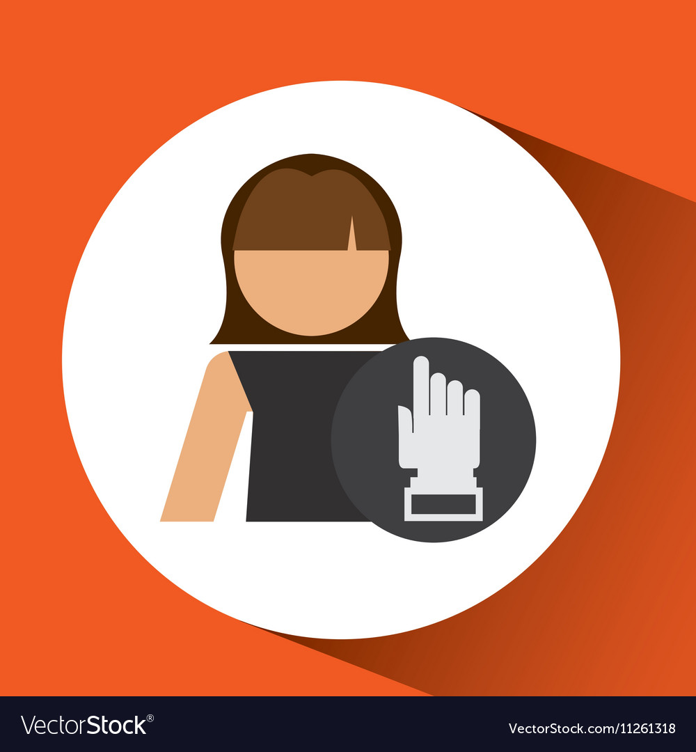Woman hand pointing up icon design