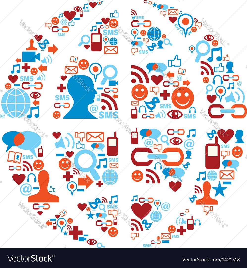 World Symbol In Social Media Network Icons Vector Image