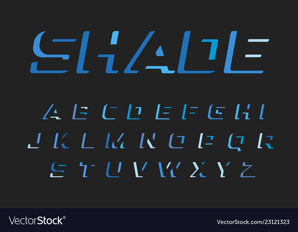 Blue letters set latin alphabet darkness