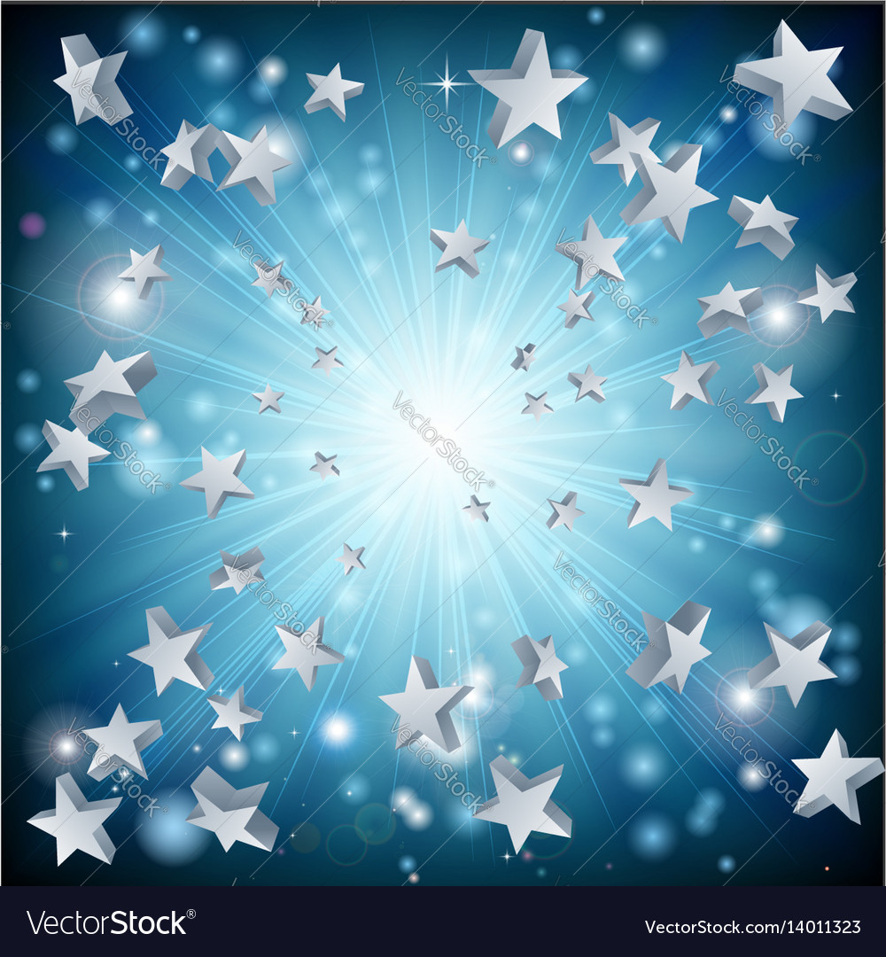 Blue star explosion background vector image