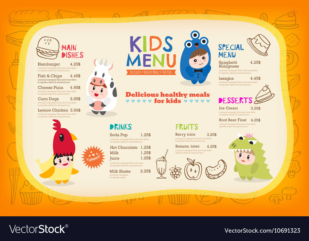 Cute colorful kids meal menu placemat vector image
