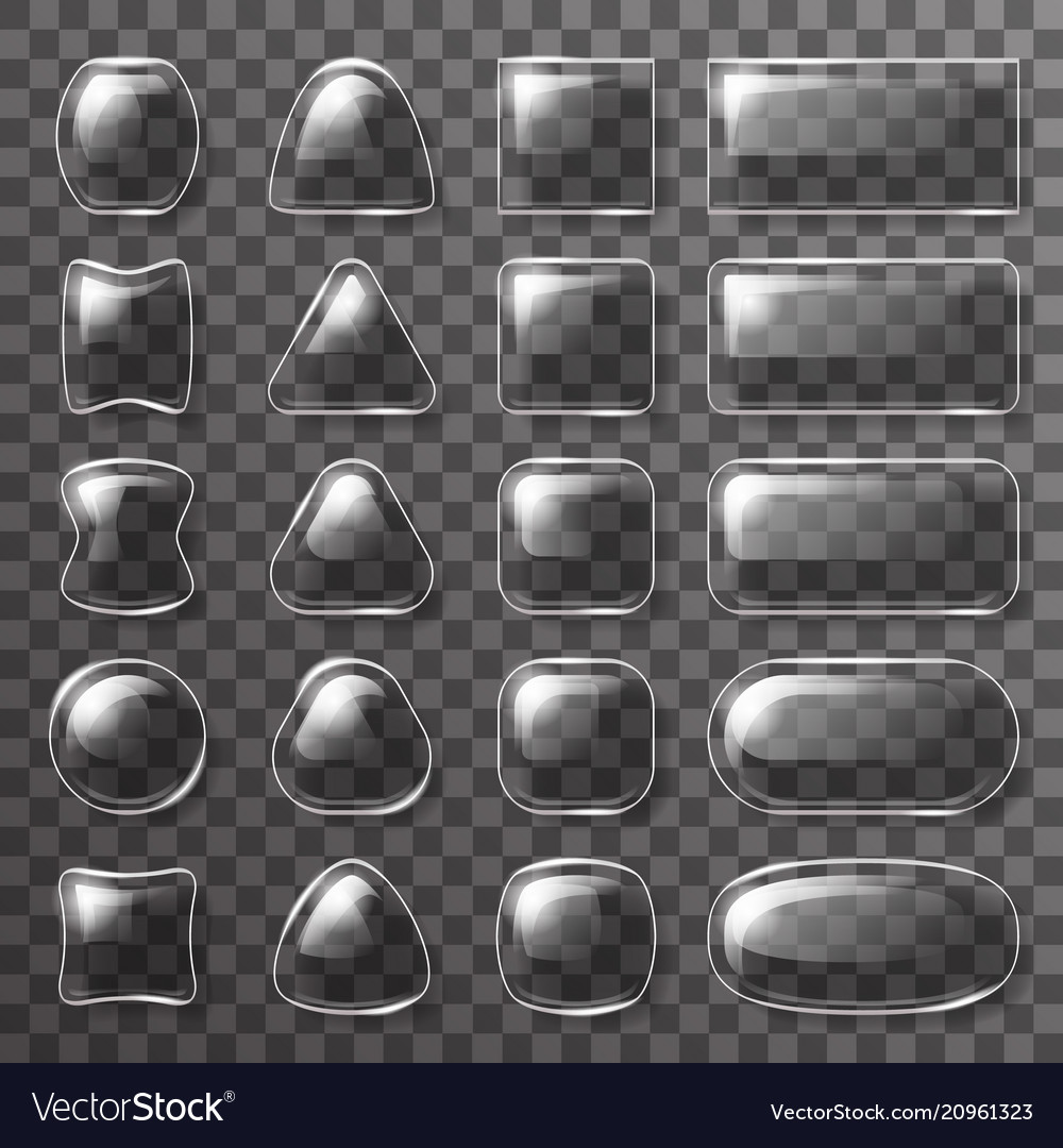 Glass plate ui buttons app icons transparent