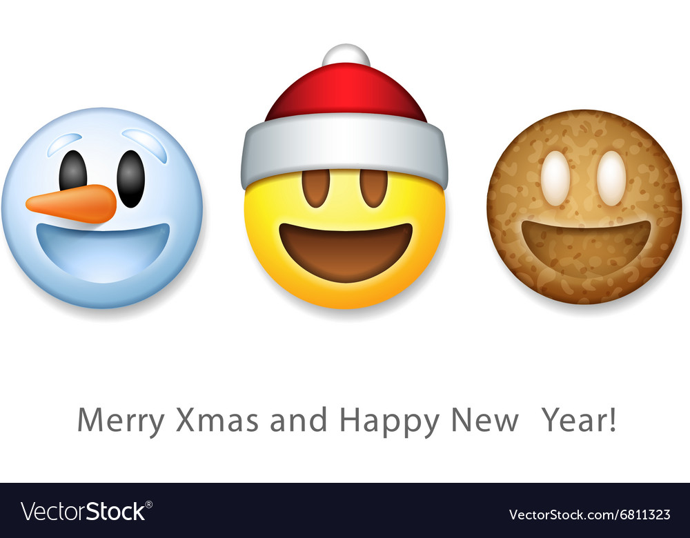 Christmas Emoji.Holiday Emoticon Set Icons Christmas Emoji Symbol