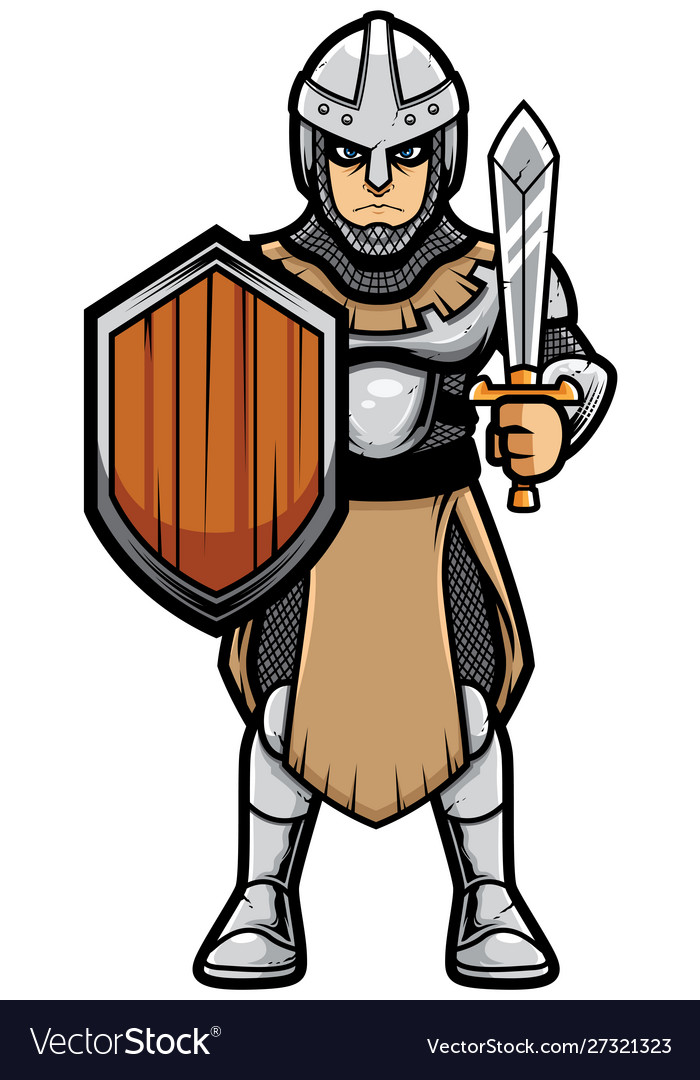 Medieval soldier on white