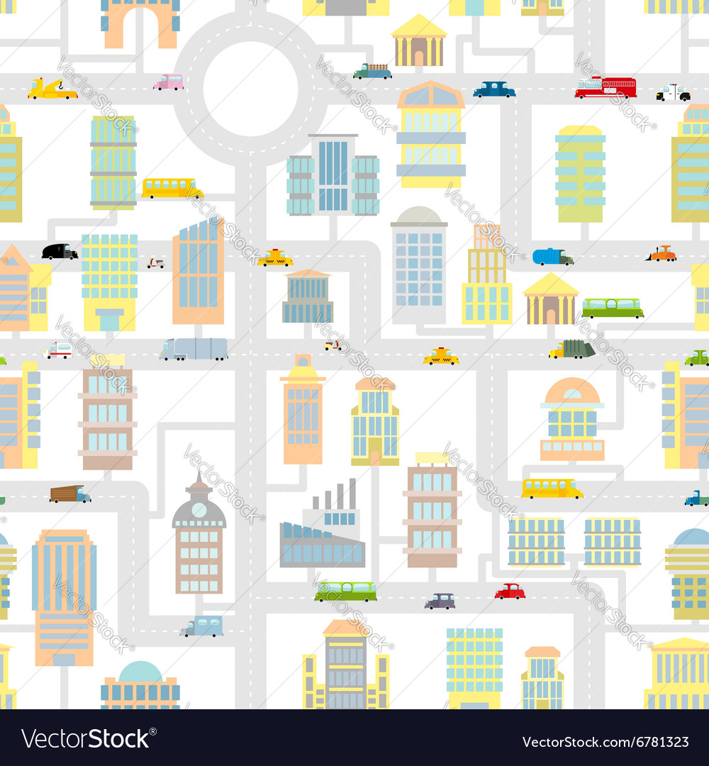 Morning city seamless pattern Texture Cartoon cute