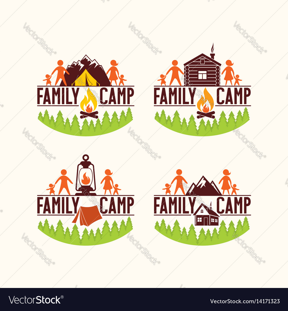 Set of logos of the family camp