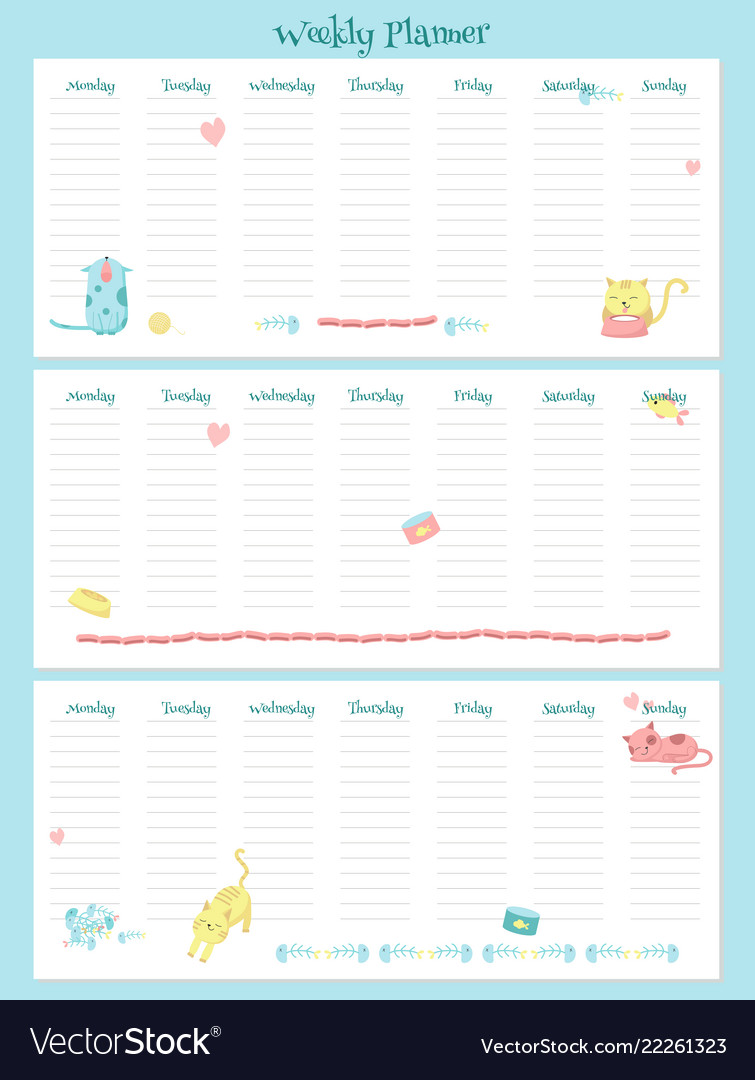 picture relating to Free Weekly Planner named Weekly planner template with lovely cats