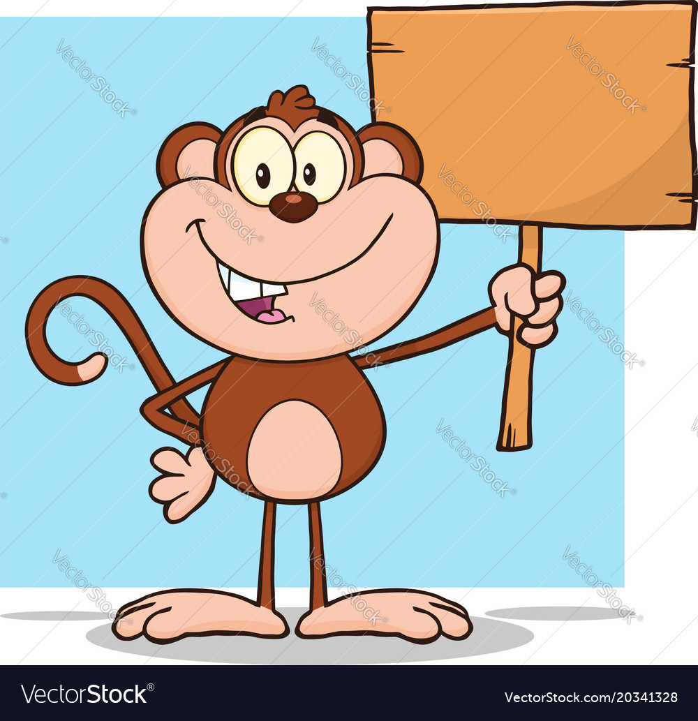 Cute monkey character holding up a blank wood sign