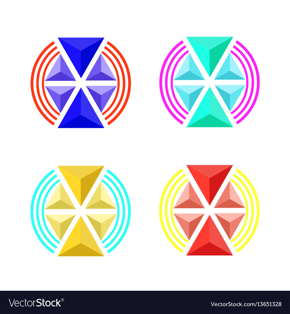 Emblem volume triangles of different sizes vector image