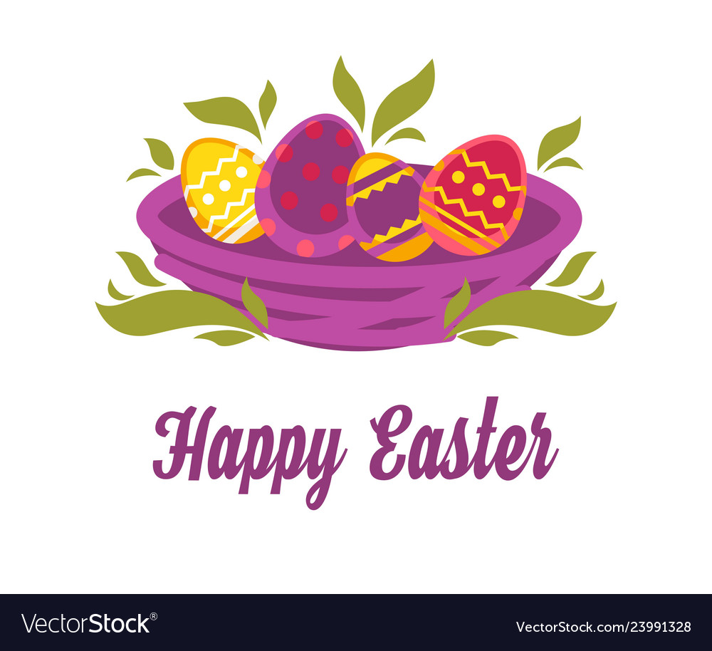 Happy easter isolated icon colored eggs in nest