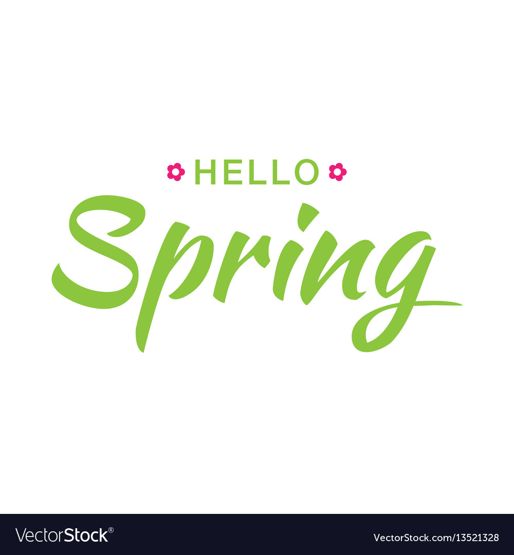 Hello spring banner background with paper flowers