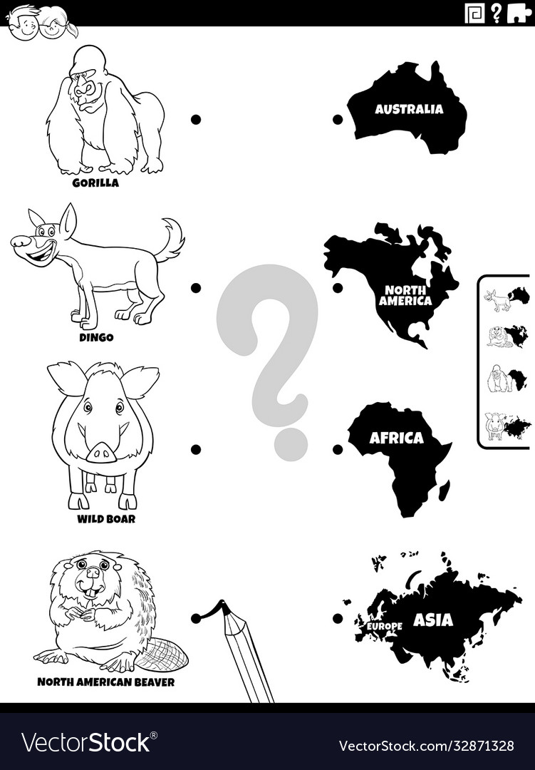 Match animals and continents color book page