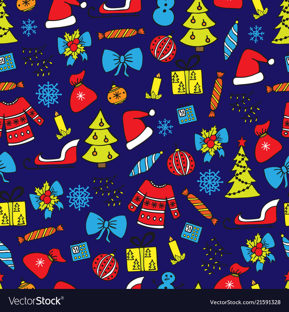 New year seamless pattern on the blue background