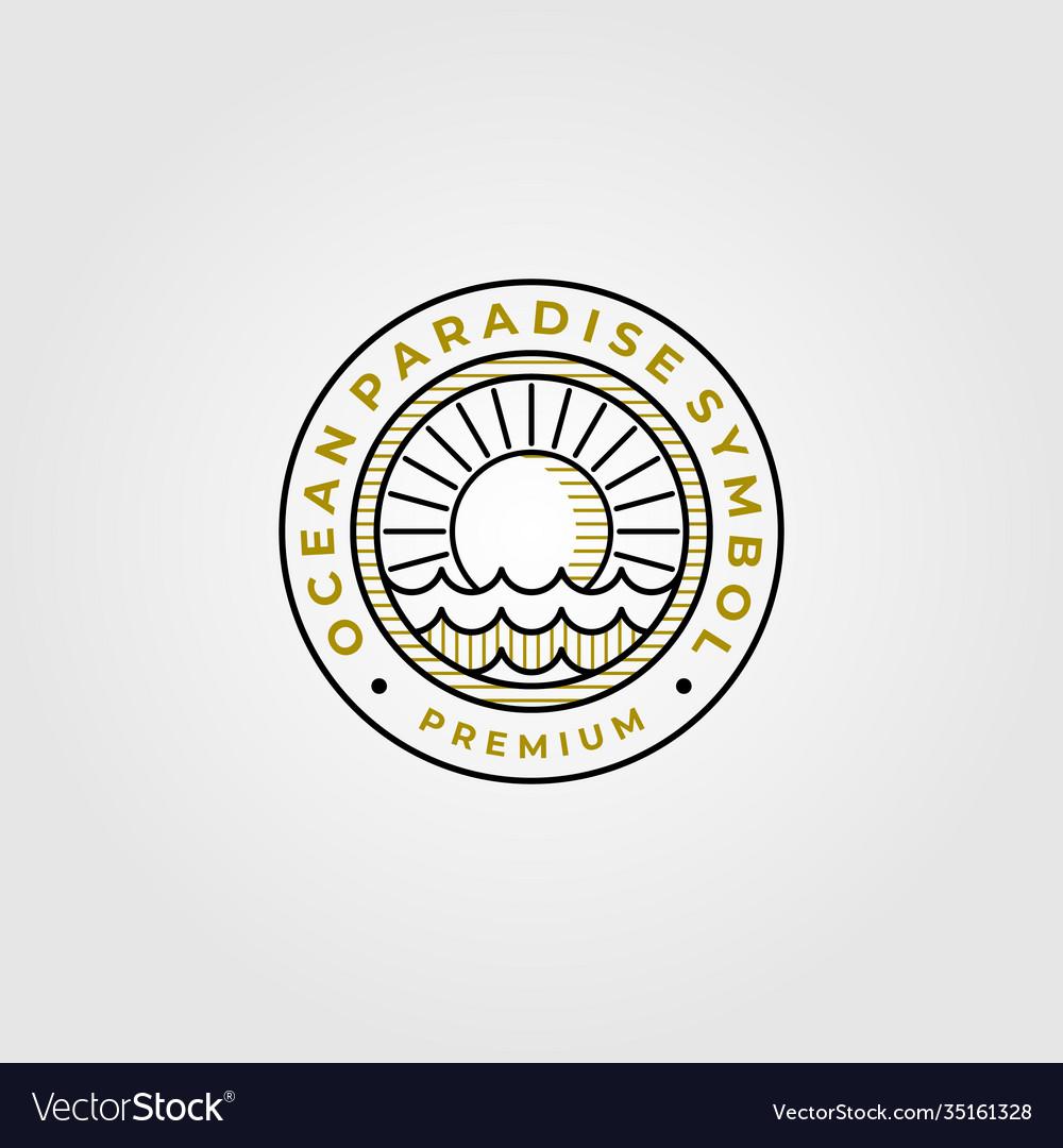 Ocean paradise line art logo symbol design