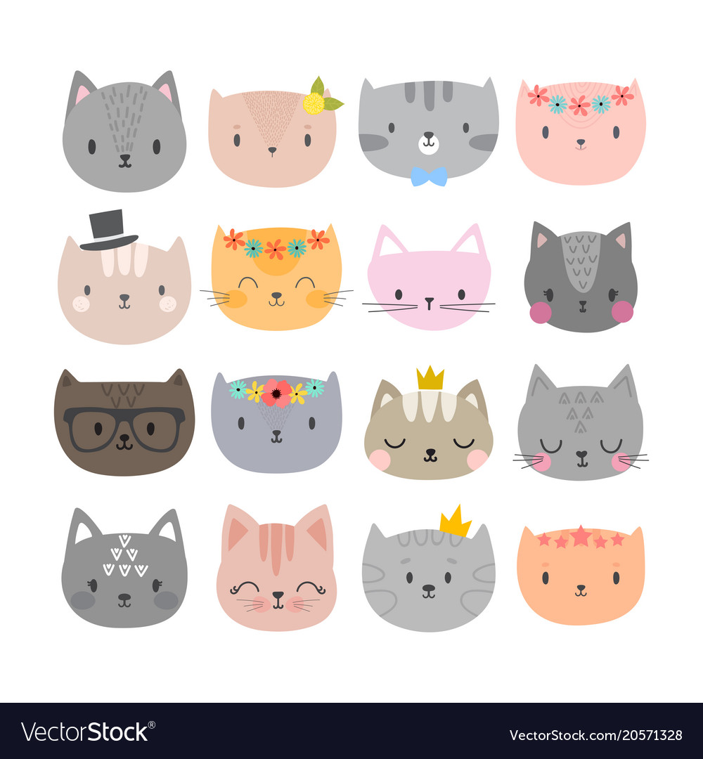 Set of cute fashion cats funny doodle animals