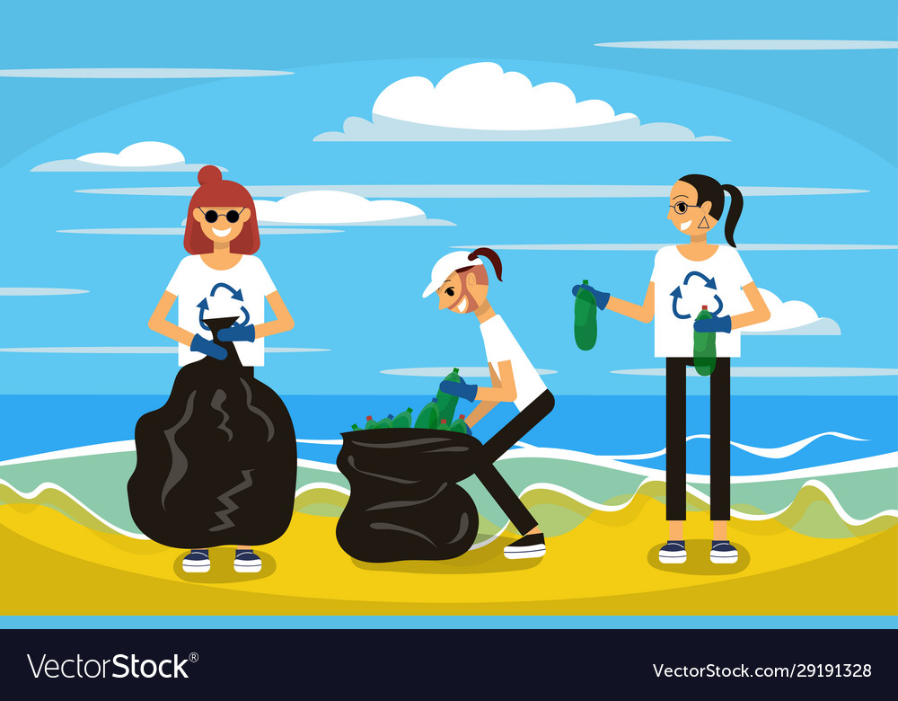 Three friend are cleaning up beach from