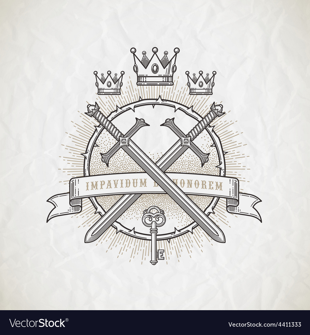 Abstract heraldic line art emblem