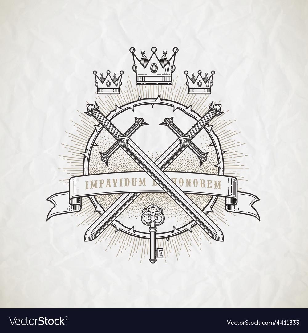 Abstract heraldic line art emblem vector image