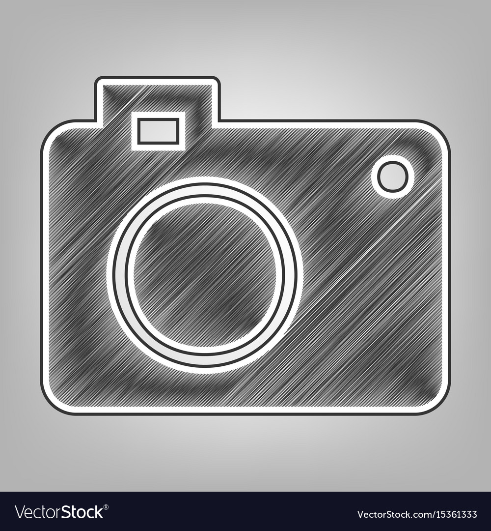 Digital camera sign pencil sketch vector image