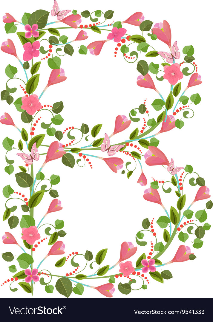 Floral font with with spring pink flowers Romantic