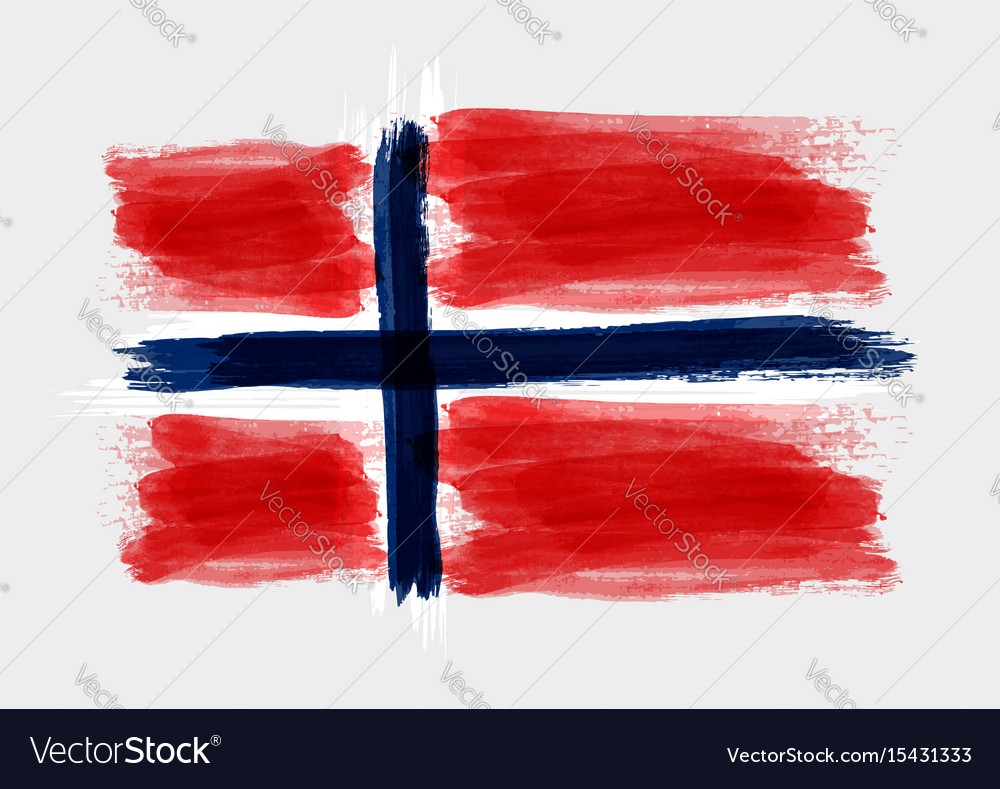 Grunge watercolored flag of norway on gray