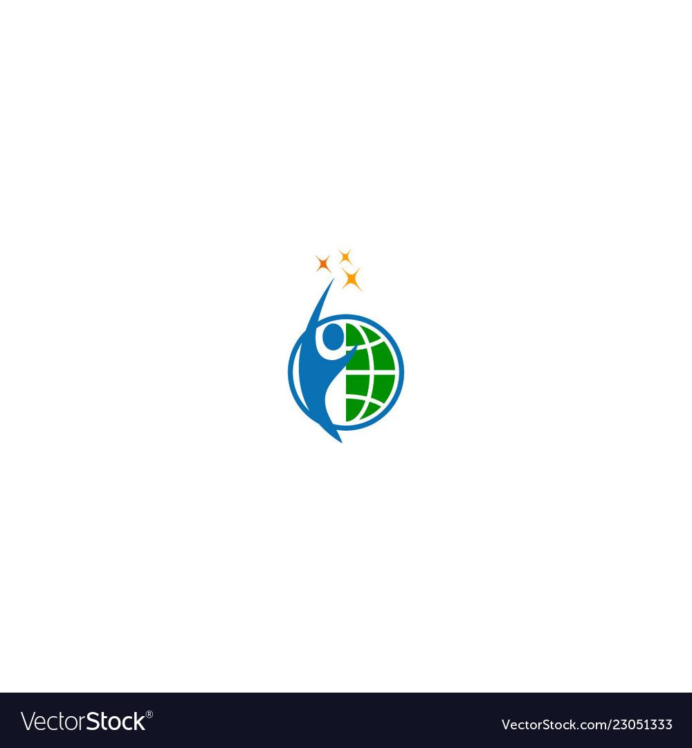 Happy man world winner star logo