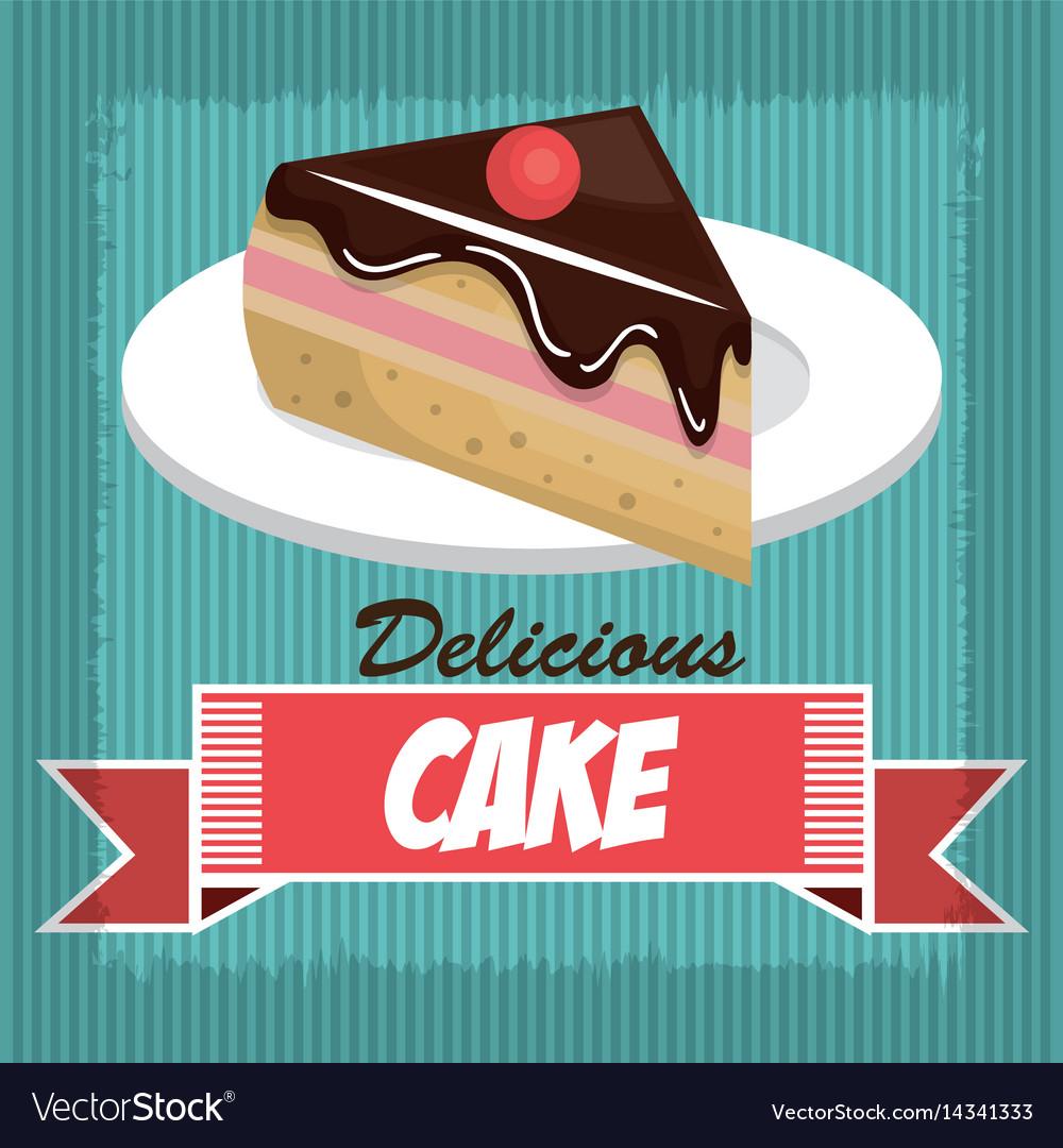 Icon delicious cake dessert isolated