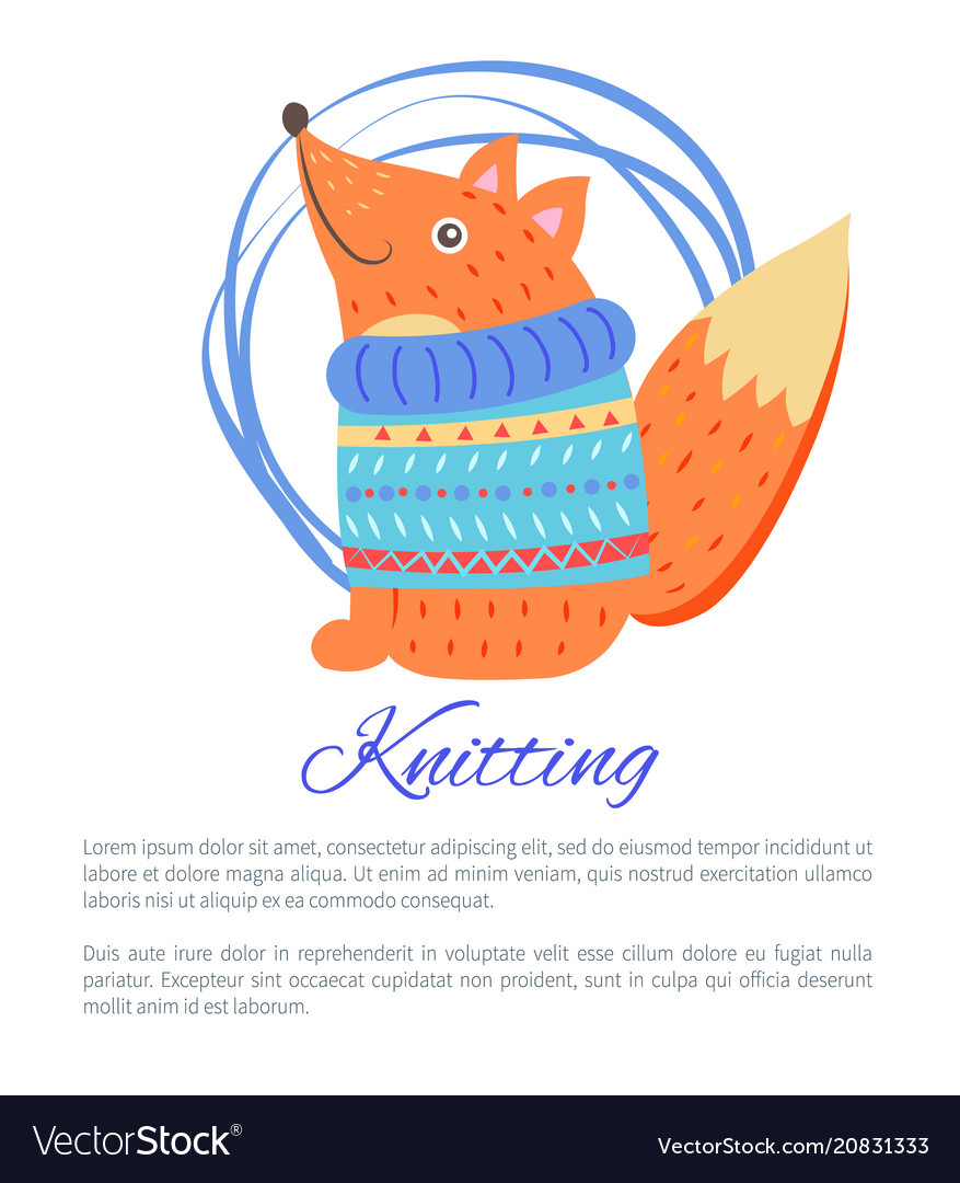 db9906d8353bc4 Knitting blue sweater funny toy fox poster Vector Image