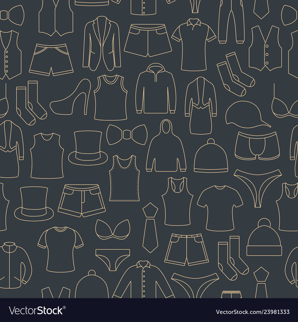 Seamless pattern from a set of clothes icons