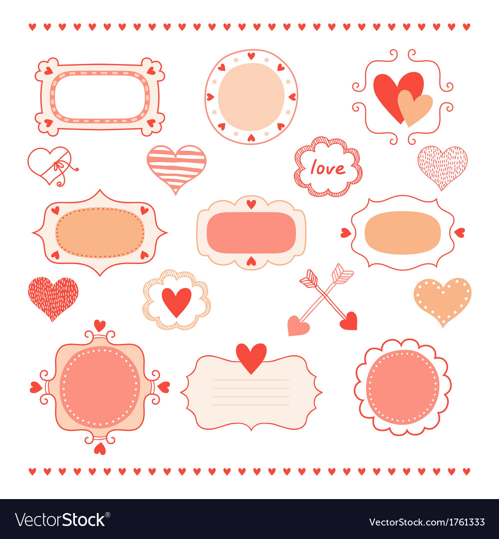 Set romantic frames and hearts Royalty Free Vector Image