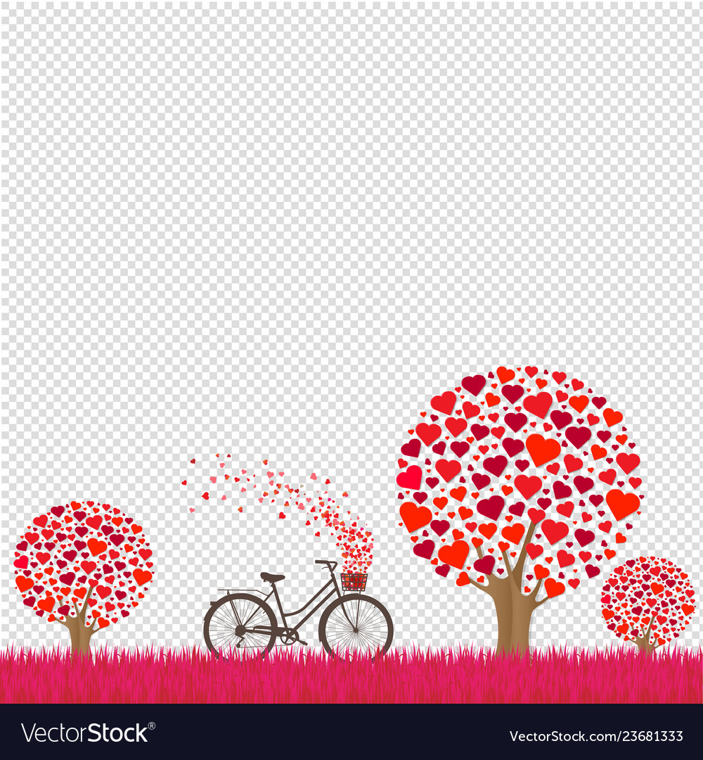 Valentines day card with transparent background