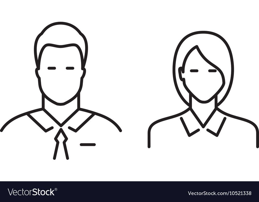 Business people line icons vector image
