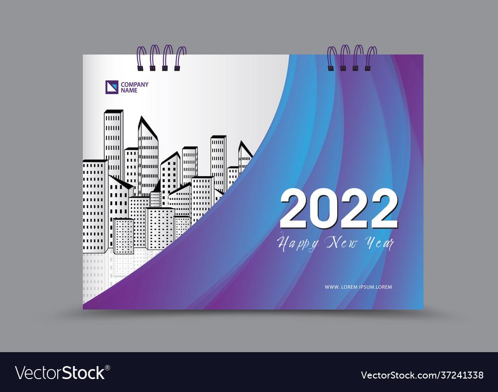 2022 Calendar Cover.Cover Desk Calendar 2022 Year Template Royalty Free Vector