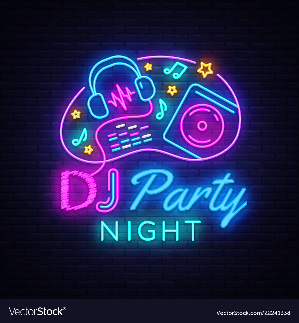 dj music party neon sign design template vector image