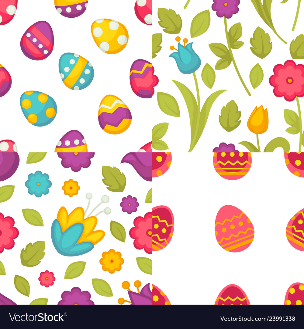 Easter seamless patterns eggs and flowers spring