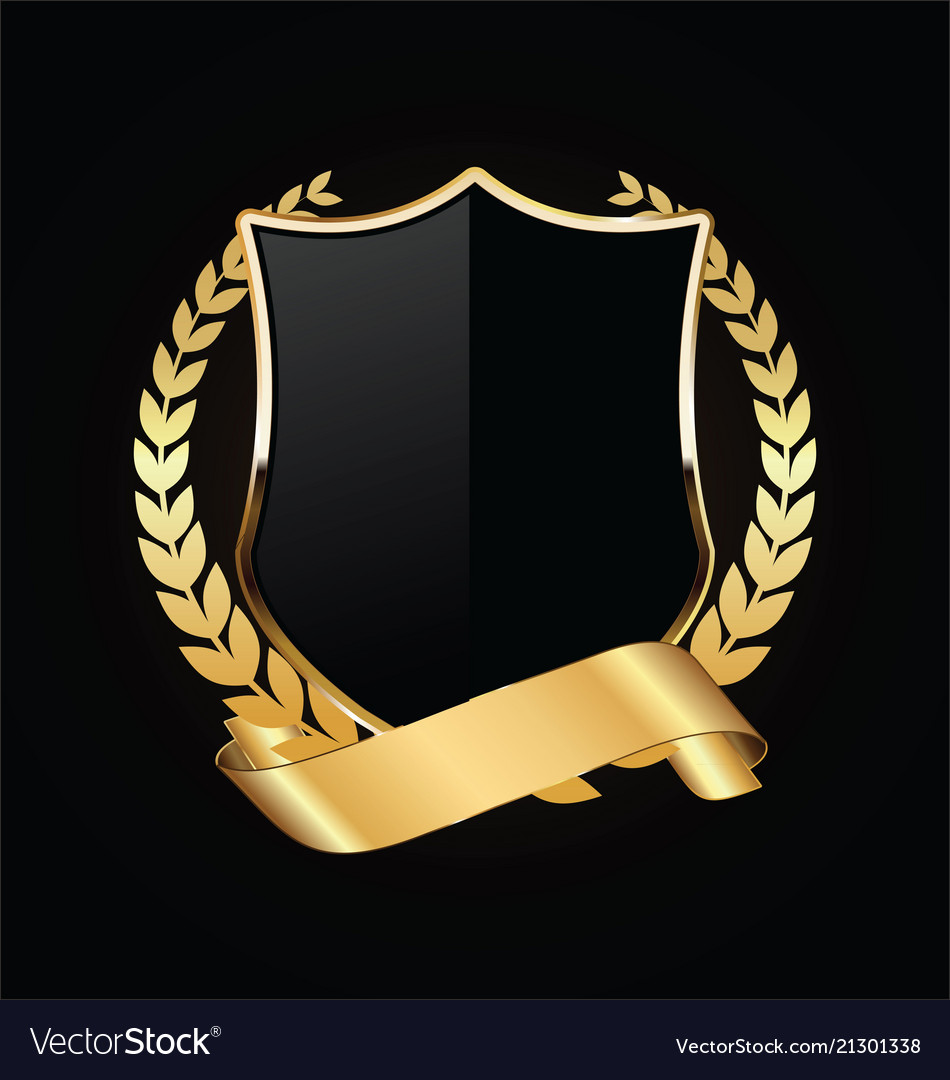 Gold and black shield with gold laurels 06