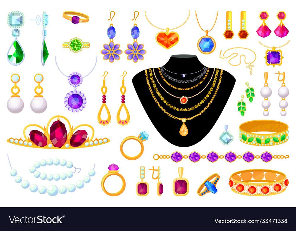 Jewelry item set isolated on white background