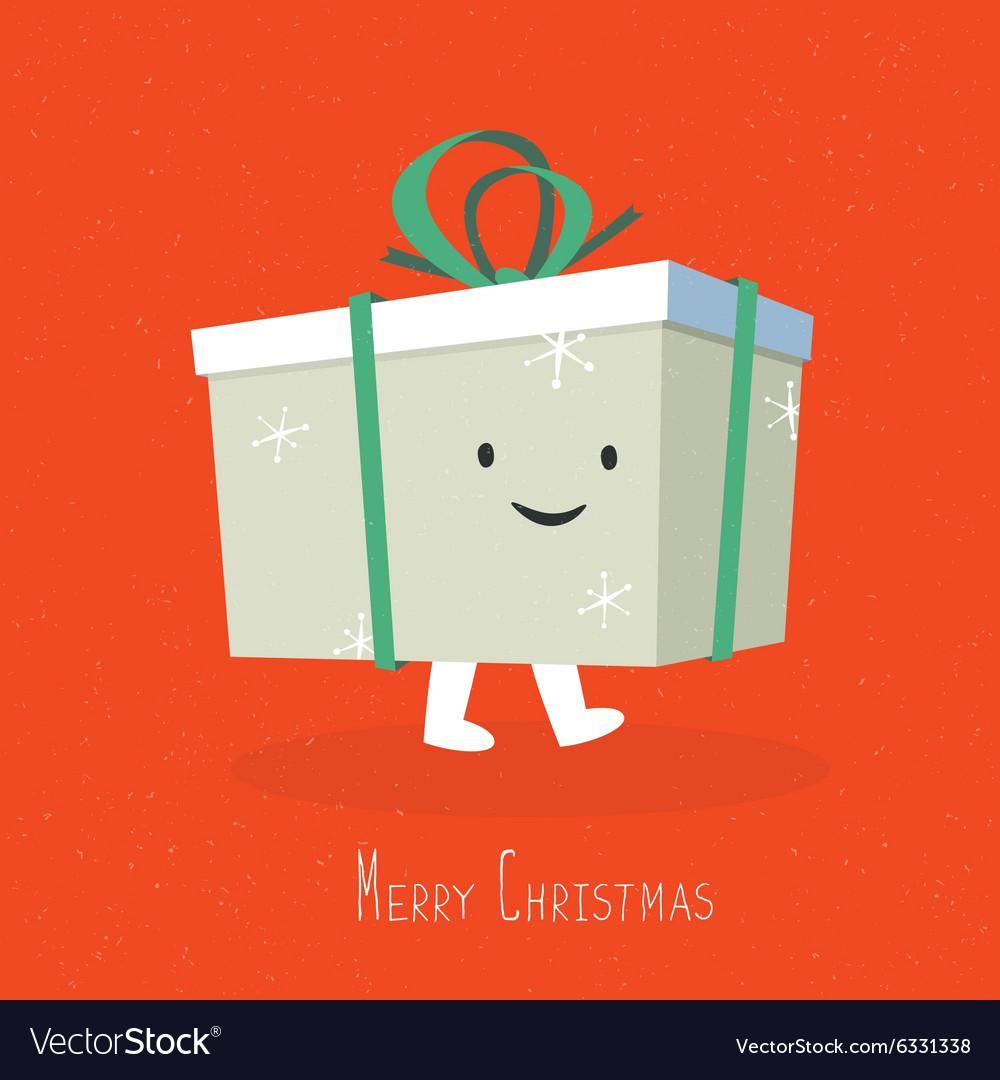 Merry christmas cute gift box coming