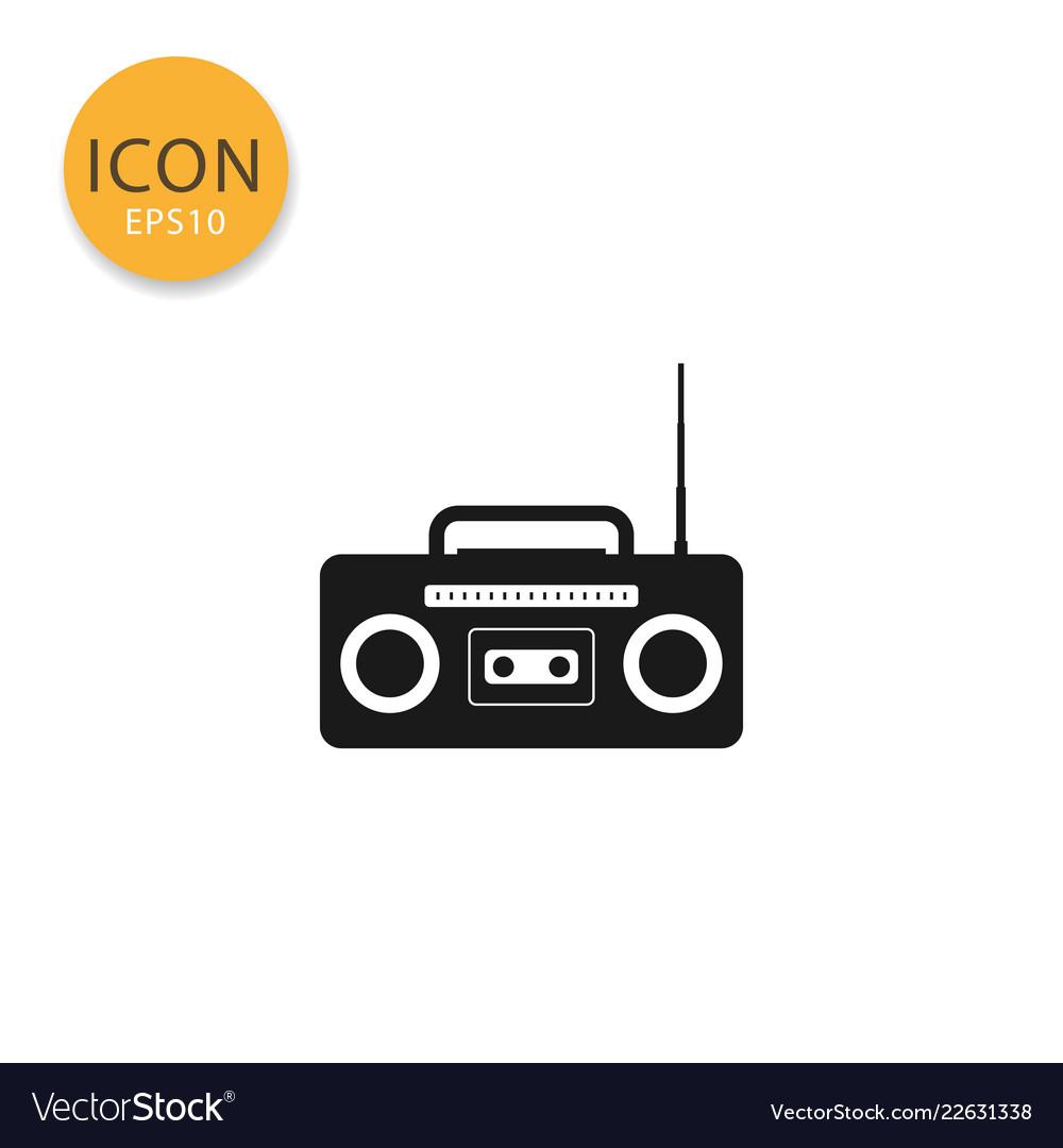 Radio cassette icon isolated flat style