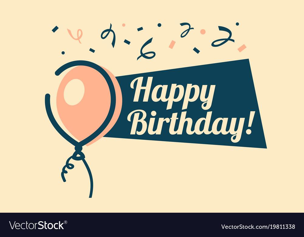 Retro Happy Birthday Greeting Card Royalty Free Vector Image
