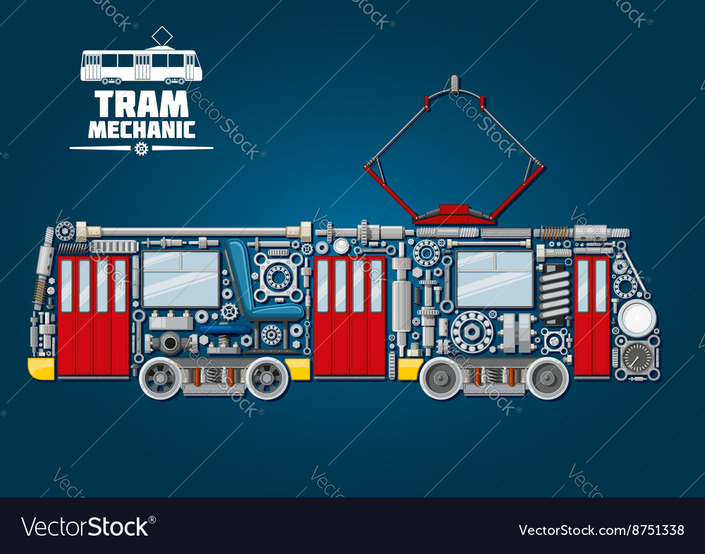Tram mechanics icon made up of mechanical parts