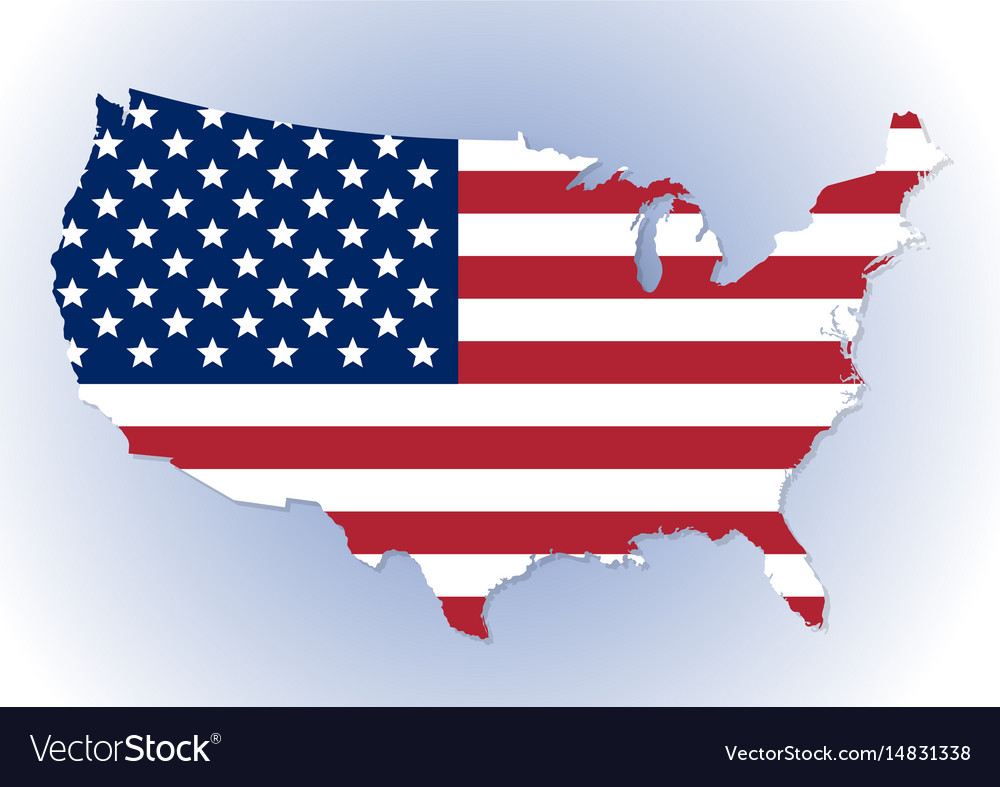 Usa Map With The National Flag Inside Royalty Free Vector