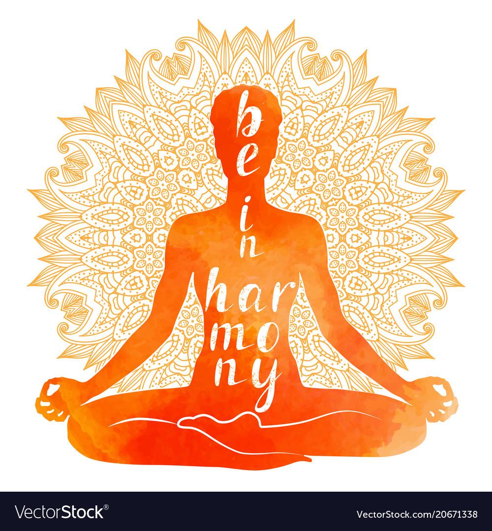 Watercolor Silhouette Of Yoga Meditation Vector Image