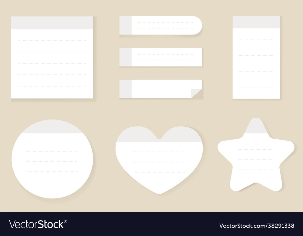 White realistic style empty paper sticky notes iso