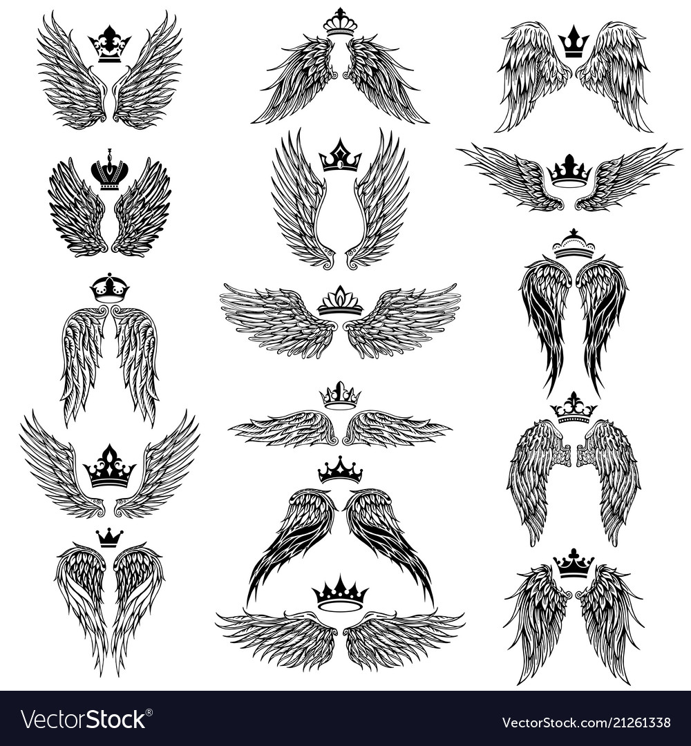 Wings with crowns silhouettes