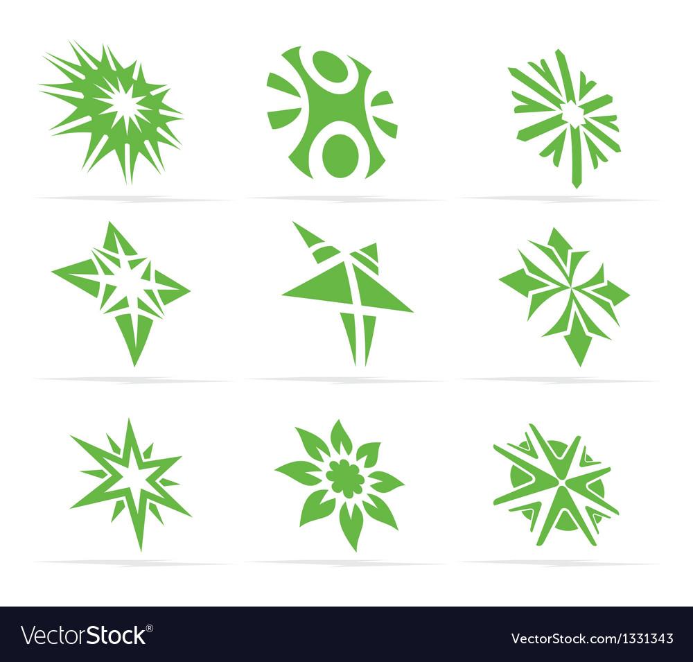 Abstract green symbol set