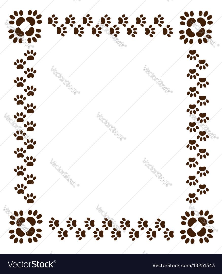 Border paw prints on white background