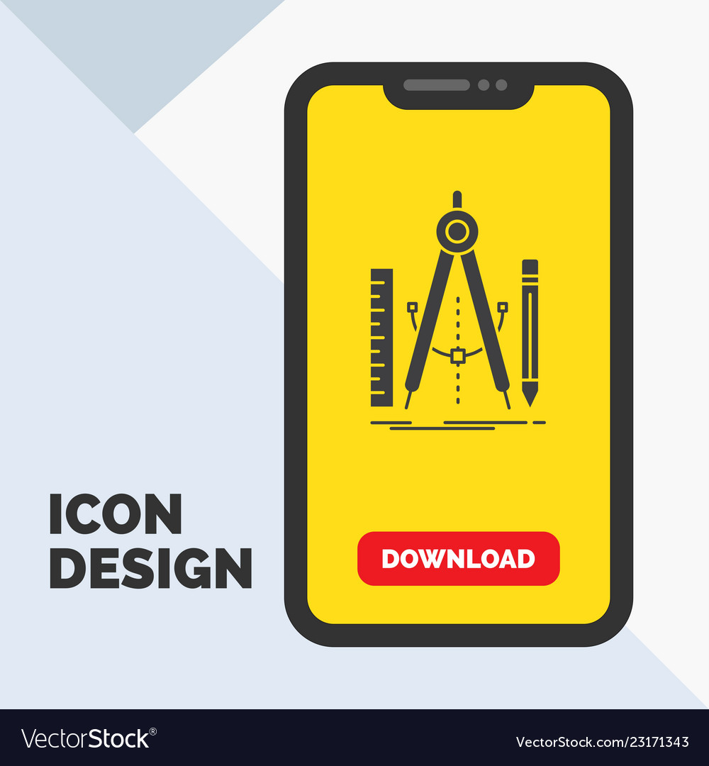 build design geometry math tool glyph icon in vector image