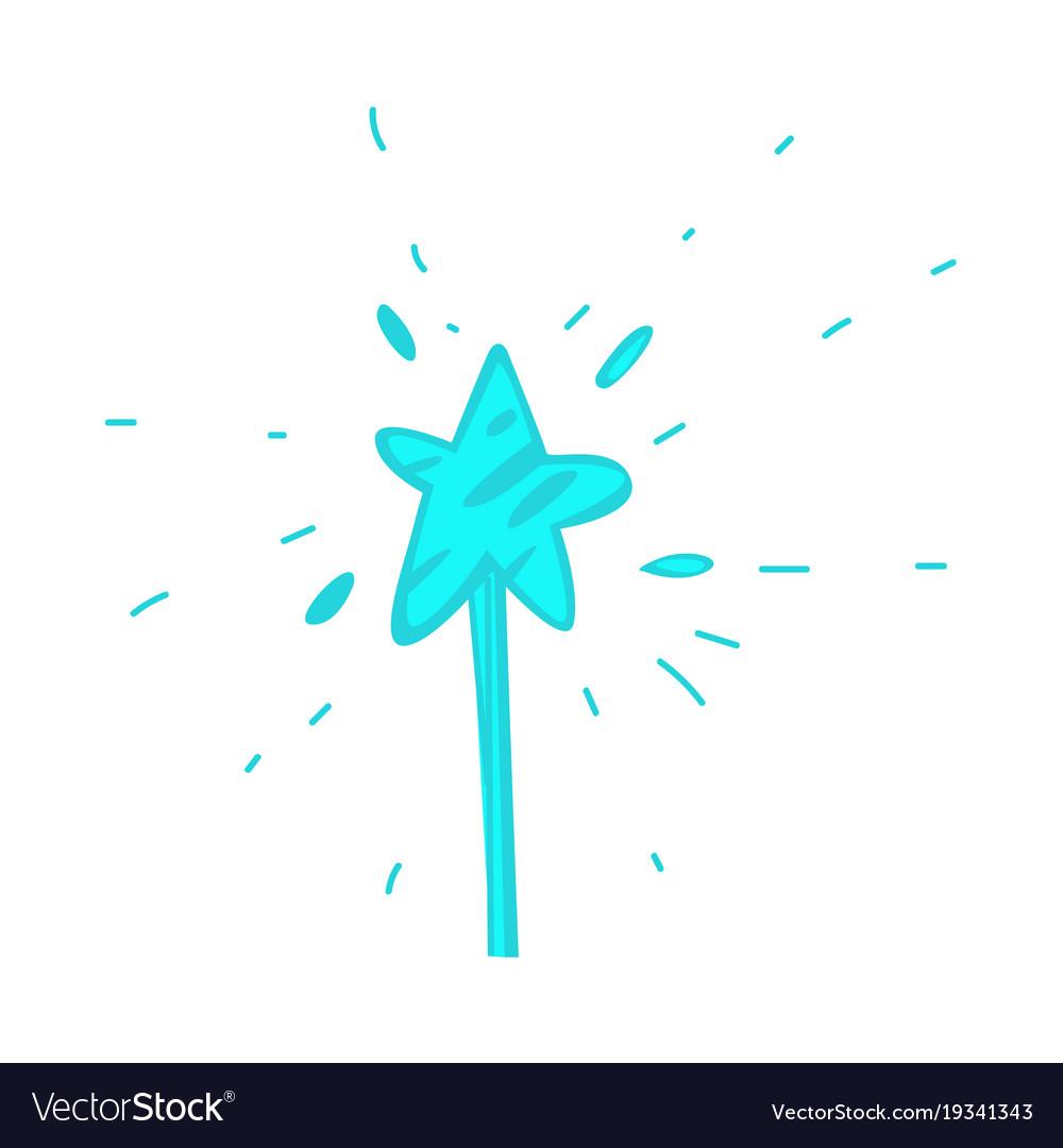 Cartoon hand drawn magic wand with star vector image